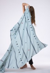 BERBER MOTIF SHAWL IN PALE ACQUA COLORWAY 100% CASHMERE, YARN DYED, HAND EMBROIDERED