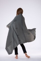 SLASHER SHAWL IN MOSS & FUR BROWN 100% CASHMERE, HAND EMBROIDERED