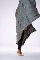 SLASHER SHAWL IN MOSS & FUR BROWN 100% CASHMERE, YARN DYED, HAND EMBROIDERED