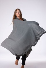 HAND EMBROIDERED DERA SHAWL IN MOSS  100% CASHMERE, HAND EMBROIDERED