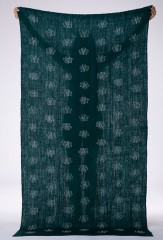 REVERSE BLOSSOM FLOAT SHAWL IN DARK GREEN & IVORY  100% CASHMERE & YARN DYED