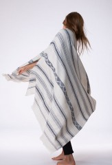 TISFRIOUDINE  SHAWL IN IVORY & BLACK TEAL  100% CASHMERE, YARN DYED, HAND EMBROIDERED