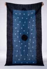 SHADED SUNSPOT SHAWL IN DARK NAVY, NIGHT SKY & IVORY 100% CASHMERE, HAND TIE DYED