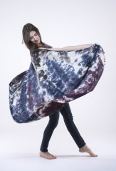 INK STAIN SHAWL IN IVORY, BLACK TEAL, VIOLET, FUR BROWN 100% CASHMERE, HAND PAINTED