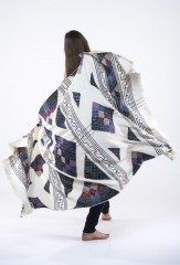 PYRAMID SHAWL IN NATURAL, IVORY, BLUES, LAVENDER, ABBOT & TAUPE 100% CASHMERE, HAND EMBROIDERED