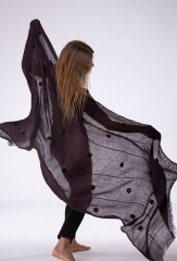BENAKI BORDER SHAWL IN NIGHT SKY 100% CASHMERE, HAND EMBROIDERED