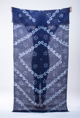 LINEN SCROLL SHAWL IN NAVY & IVORY 100% LINEN, HAND TIE DYED