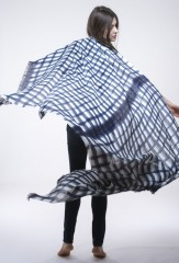 LINEN MALI YARN DYED STRIPES SHAWL IN DARK NAVY & IVORY 100% LINEN, YARN DYED, HAND PAINTED