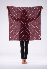 AZTEC BANDANA SQUARE IN BORDEAUX & IVORY 100% CASHMERE, HAND TIE DYED