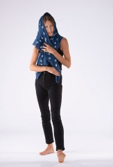 AZTEC BANDANA SQUARE IN NIGHT SKY & IVORY 100% CASHMERE, HAND TIE DYED