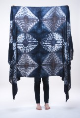 DIAMONDS SHAWL IN BLACK TEAL IN FUR BROWN & CARRARA  100% CASHMERE, HAND TIE DYED
