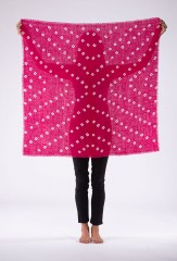 AZTEC BANDANA SQAURE IN HOT PINK & IVORY 100% CASHMERE, HAND TIE DYED