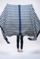 MALI YARN DYED & HAND PAINTED STRIPES THROW IN DARK NAVY & IVORY 100% CASHMERE, YARN DYED, HAND PAINTED