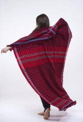 MASAI CHECKS THROW IN CHAY, DARK NAVY & IVORY 100% CASHMERE, YARN DYED
