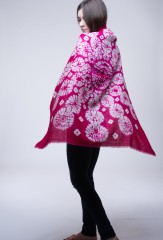 SNOWFLAKE BANDANA SQUARE IN HOT PINK & IVORY  100% CASHMERE, HAND DYED