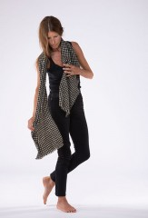 HOUNDSTOOTH MUFFLER IN SHORE & BLACK 100% CASHMERE, SPACE DYED & HAND EMBROIDERED