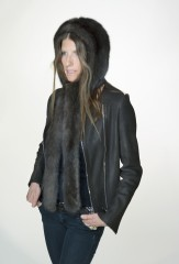 Amelia Hood in Natural Brown Sable; Reversible Biker Jacket in Ebony Sheared Mink