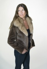 Aviator Jacket in Demi Buff Sheared Mink with Mahogany Sable Collar