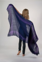 Striped Kalagai Throw in Navy & Violet