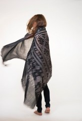 Linen Wanka Khana Shawl in Fur Brown