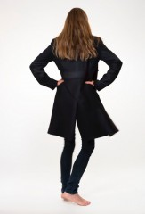 Cashmere Officers Coat in Black