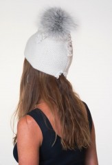 Warrior Hat in Antique White with Fawn Light Fox Pom Pom