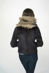 Fur Collar in Gold Cross Fox; Reversible Biker Jacket in Ebony Sheared Mink