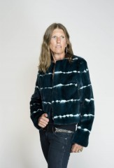 Lehariya Tie-Dyed Mink Jacket in Black Teal & Ivory