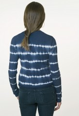 Tie-Dyed Lehariya Cardigan in Black Teal & Ivory