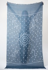 Linen Margherita Shawl in Military Blue & Ivory