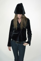 Biker Jacket in Black Sheared Mink; Bucket Hat in Natural Black Ranch Mink