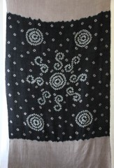 Shaded Circles Shawl in Bikaner Lavender, Black & Ivory