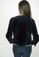 Striped Racer Jacket in Midnight Sheared Mink with Black Stripes