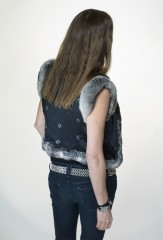 Tatar Vest in Natural Grey Chinchilla