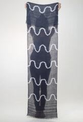 Linen Lehariya Pareo in Black Teal & Ivory