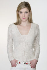 Lace Stripe Cardigan in Niveous