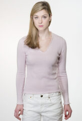 Garza Frayed V-Neck in Ballet