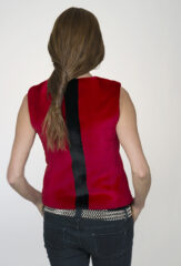 Striped Racer Gilet in Chay & Midnight Sheared Mink