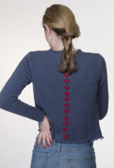 La Croce Frayed Cardigan in Selvedge & Lipstick