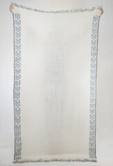 Dera Shawl in Natural Ivory with Embroidery in Blues
