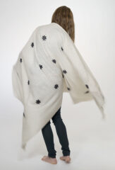 Embroidered Afaggou Blossom Shawl in Natural Ivory, Navy & Chay