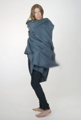 "Reverse ""Plus"" Float Shawl in Mineral & Navy"
