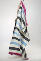 Wool Stripes Shawl in Natural Ivory, Fur Brown, Sky & Hot Pink