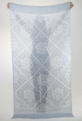 Linen Diamonds & Flowers Shawl in Chambray & Ivory
