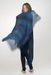 Grace Linen Shawl in Dark Navy & Lagoon