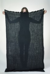 Dera Shawl in Black with Black Embroidery