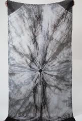 Linen Shockwave Shawl in Fur Brown & Ivory