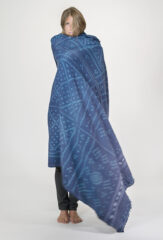 WOOL WANKA KHANA THROW IN BLUE & AQUA