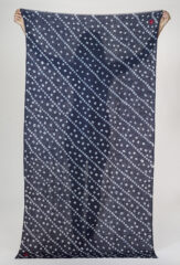 HAND EMBROIDERED KUTCH TIE-DYE SHAMINA IN NAVY & IVORY WITH CHAY KUTCH CROSS