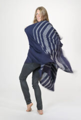 Banded Herringbone Shawl in Navy & Ivory